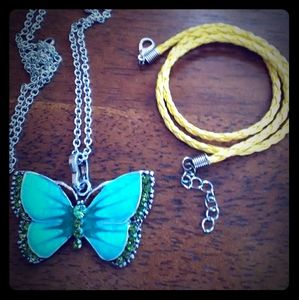 Green-Blue Butterfly Necklace